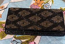 Sweet Vintage 50s 60s Fuji Black Beaded Evening Bag Clutch Purse Made in Japan