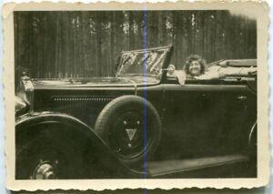Orig. Foto Auto ADLER Cabriolet offen, Frau am Steuer 30er Ja.