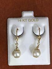 14k Solid Yellow Gold 7mm Freshwater Pearl Dangle Leverback Earrings