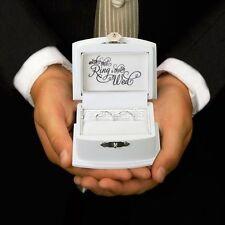 White Ring Bearer Box for Wedding Unique Ring Pillow Ring Box