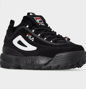 Men's FILA Disruptor 2 Casual Shoes Black/White/Red 90s size 12
