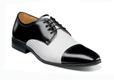 Stacy Adams Men's Forte Cap Toe Oxford Black/White Leather Dress Shoes 25180-111