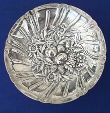Kirk & Son Repousse Detailed Sterling Silver 233 Flower Fruit-Berry 4 Footed Bow