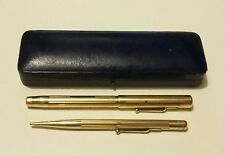 Gold Plated Mabie Todd SWAN Fountain Pen Boxed Set 14ct Nib Propelling Pencil