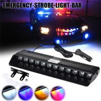 12V 12 LED Auto Strobe Blitzlicht Armaturenbrett Notfall Blink Rot/Blau Lampe