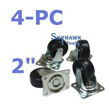 "4 PC 2"" Rubber Wheel Casters 2"" x 3/4"" Wide Swivel Caster with Top Plate Bearing"