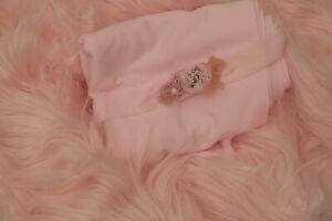 Soft n Stretch Milk Jersey Wrap & Tieback & Fur 3 Piece SET Newborn Photo Prop