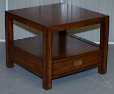 STUNNING MILITARY CAMPAIGN MAHOGANY SIDE END LAMP WINE TABLE WITH SINGLE DRAWER