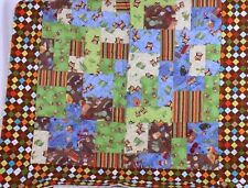 """Owl Fish Animal Quilt Quilted Cover Blanket 46 x 55"""" Boy or Girl"""
