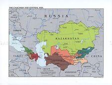 Mappa politica CIA 2003 Caucaso, l'Asia centrale grande Replica poster stampa pam1423