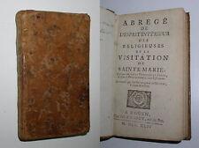 ABREGE DE L'ESPRIT INTERIEUR DES RELIGIEUSES DE LA VISITATION DE STE MARIE -1744