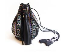 Wendy Nichol Aztec Bullet Bucket Bag, Black Leather, Reversible!