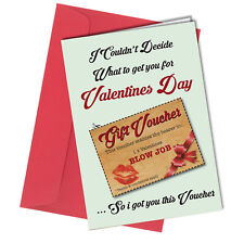 #20 VALENTINES DAY CARD with cut out Voucher ADULT Boyfriend HUMOUR Funny Rude