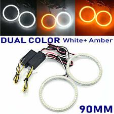 LED HALO RINGS 90MM SMD White-Amber Dual Color LED ANGEL EYES DRL Turning Signal