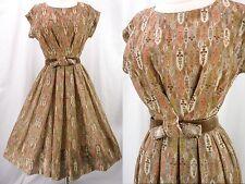 Vintage 50s Sheer Gauze Stained Glass Floral Novelty Full Skirt Day Dress M