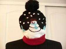Winter Style Knit Beanie,Adult,Acrylic Lined Ski Hat Black/White/Blue Snowmen