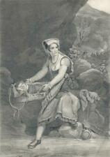 MOTHER & CHILD IN WOODLAND LANDSCAPE Antique Pencil Drawing 19TH CENTURY