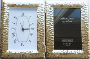 Clock and Photo Frame Folding Silver Coloured with Hammered Detail 20 CM