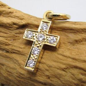 Wert 1200,- Gold Kreuz - Anhänger aus 750 / 18 KT Gelbgold Brillanten