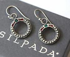Wreath Earrings Red Green W1774 🎄 🎄 Silpada Rare Htf Sterling Silver Christmas