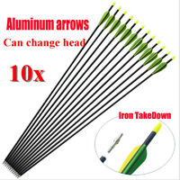 "10x 32"" EXTRA HEAVY DUTY ALUMINIUM ARROWS FOR COMPOUND AND RECURVE BOW ARCHERY L"