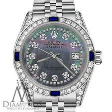Rolex 36mm Datejust Black MOP String Dial with Sapphire & Diamond  Bezel Watch