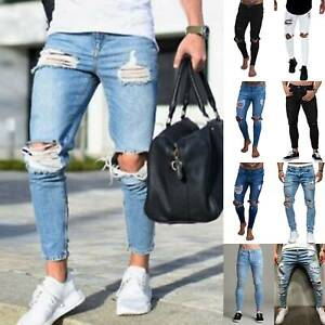 Men Ripped Frayed Denim Jeans Pants Tapered Leg Bottoms Bikers Casual Trousers