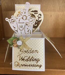 Handmade Golden wedding anniversary pop up card