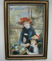RENOIR PAINTING Two Sisters on the Terrace LG SIGNED REPRODUCTION OIL on CANVAS