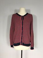 Boden Navy Blue and Pink Stripe Long Sleeve Cashmere Blend Cardigan Women's 12