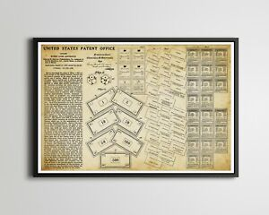 """1936 MONOPOLY Pieces Patent POSTER! (up to 24"""" x 36"""") - Made in USA - Vintage"""