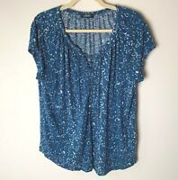 Chaps Women's Top Size Large Lace Up Front Short Sleeves Casual Floral Blue