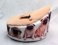 Baby Bean Bag Adjustable Harness Kids Toddler Chair PUG DESIGN Bouncer Beanbag