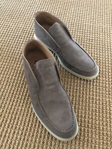Loro Piana Open Walk Ankle Boot Sandstone Suede 40.5 US 7.5 $1050 Beige Grey