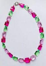 Stunning  Baby Pink & Peridot Green Hot Pink Chunky Italian Glass Necklace