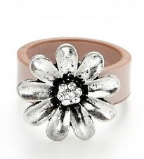 Pink Faux Leather & Silver Daisy Flower Ring - 18mm - Size Q