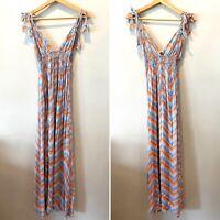 Anthropologie En Creme Maxi Long Dress Tie Straps Sleevless Women's Size Small