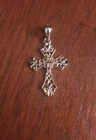 "14K WHITE GOLD DIAMOND CUT FILIGREE CROSS CHARM PENDANT - 1.14"" INCH LENGTH"