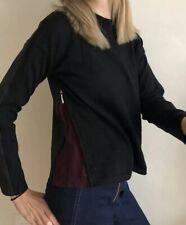 Jigsaw Contrast Jumper With Side Zip Black Maroon Unusual Knit Size S/ M Uk