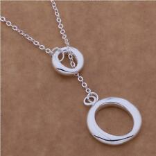 "925 Sterling Silver Plated Cut Out O Circle Loop Hoop Necklace Lariat 18"" Gift"