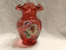 Vtg Fenton Art Glass 3249c6 Cranberry Vase Hand Painted With Flowers Signed