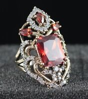 SL EXCELLENT!  TURKISH HANDMADE RUBY STERLING SILVER 925K RING SIZE 7,8,9