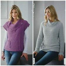 Knitting Pattern Donna Intrecciate Superiore & Maglione Cotone DK King Cole 3912