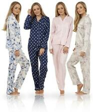 Women's Ladies Boyfriend Button Up Front Long Sleeve PJ's Pyjamas Set -Size 4-20