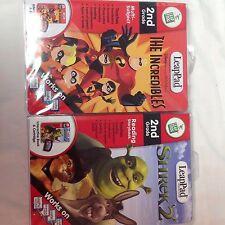LeapPad Reading Storybook 2nd Grade Shrek 2 & The Incredibles Cartridge & Books