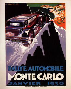 POSTER 1930 MONACO MONTE CARLO CAR AUTOMOBILE RALLY VINTAGE REPRO FREE S/H