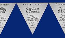 25th Argento Anniversario Di Matrimonio Festa personalizzata Bunting Striscioni Decorazione