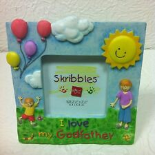 """SKRIBBLES PICTURE FRAME - """"I LOVE MY GODFATHER"""" HOLDS 2 1/2"""" X 2 1/2"""" PHOTO NEW!"""