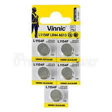 5 x Vinnic L1154F LR44 batteries Alkaline 1.5V AG13 G13 FREE Shipping EXP:2021