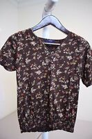 Chaps Denim 100% Cotton Multi-Colored Floral Short Sleeve Knit Top Size - Small